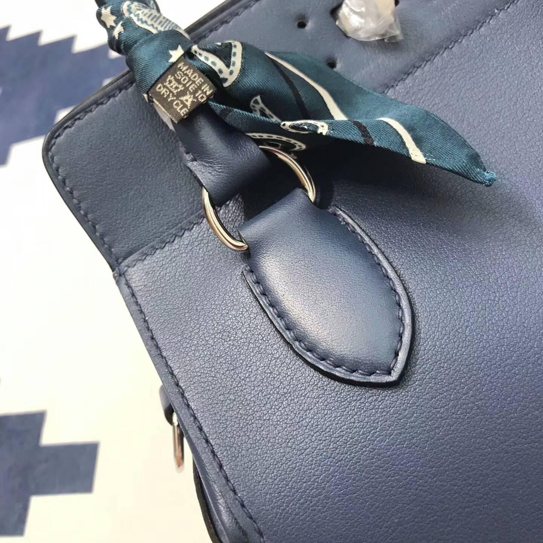 爱马仕包包 Toolbox 20cm 牛奶包 小胖墩 进口swift皮 CC73 Blue Saphir 宝石蓝 银扣