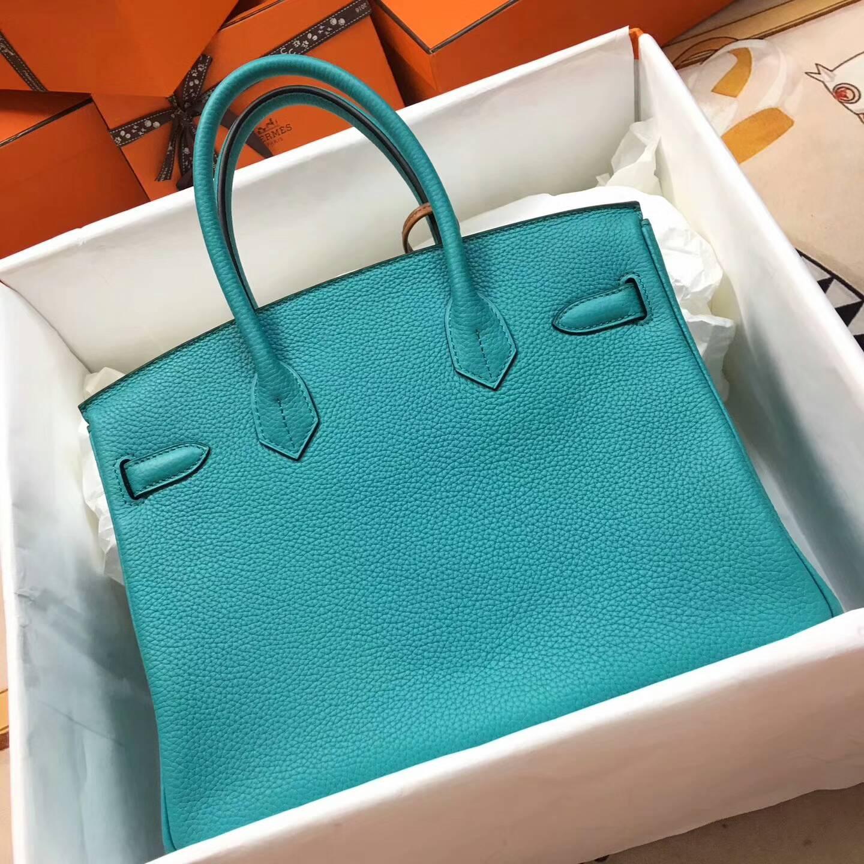 爱马仕铂金包 Birkim 30cm Clemence 法国原产Tc皮 7F Blue Paon 孔雀蓝 金扣