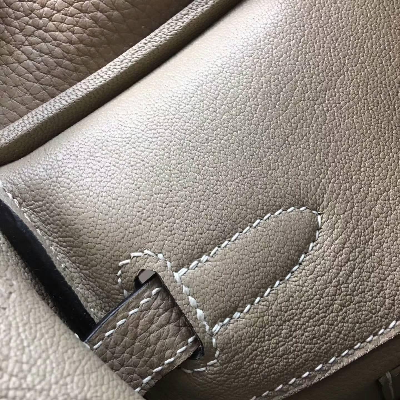 Hermes爱马仕铂金包 Birkin 30cm Clemence 法国原产Tc皮 S2 Trench 风衣灰 银扣