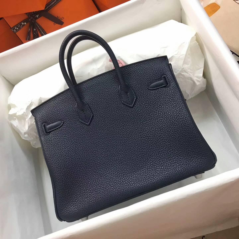 爱马仕包包 铂金包Birkin 25cm Clemence 法国原产Tc皮 N7 Blue 风暴蓝 银扣