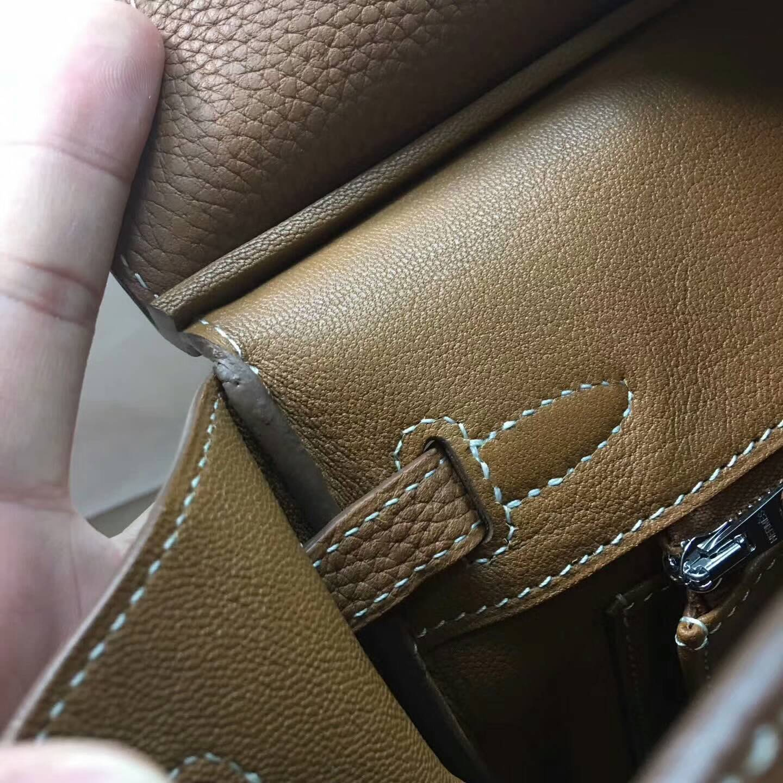 爱马仕包包 铂金包Birkin 25cm Clemence 法国原产Tc皮 37 Gold 金棕土黄 银扣