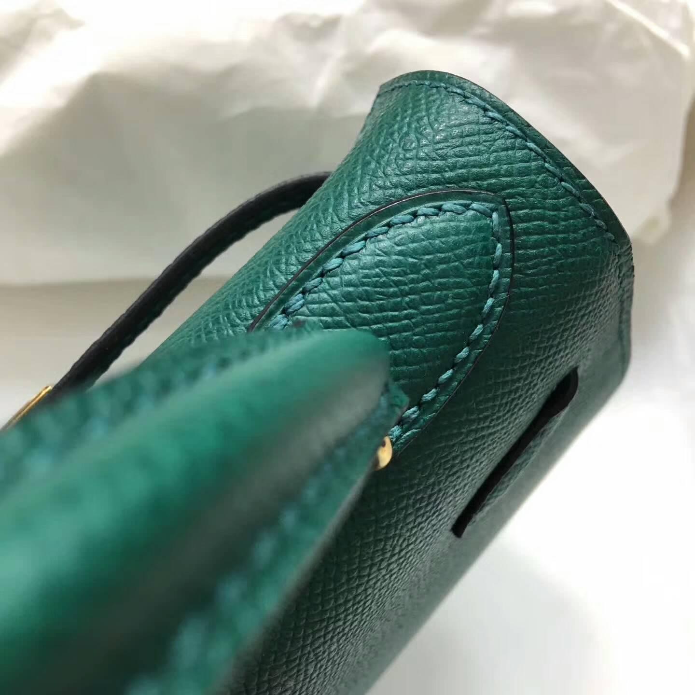 爱马仕包包 Kelly mini 20cm Epsom 法国原产掌纹皮 Z6 Malachite 孔雀绿 金扣