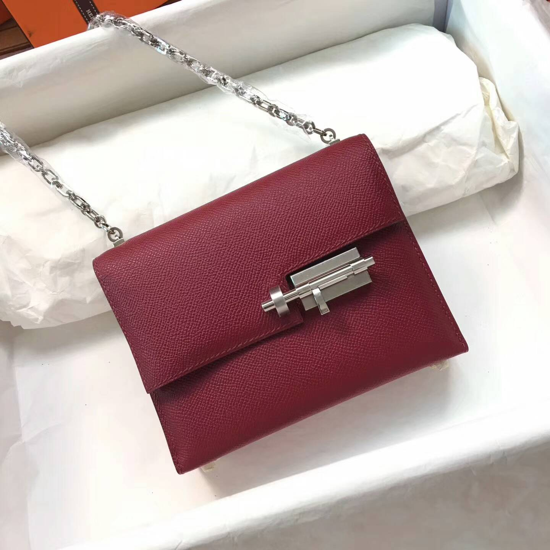 Hermes插销包手枪包 Verrou 17cm Epsom 法国原产掌纹皮 B5 Rubis 宝石红