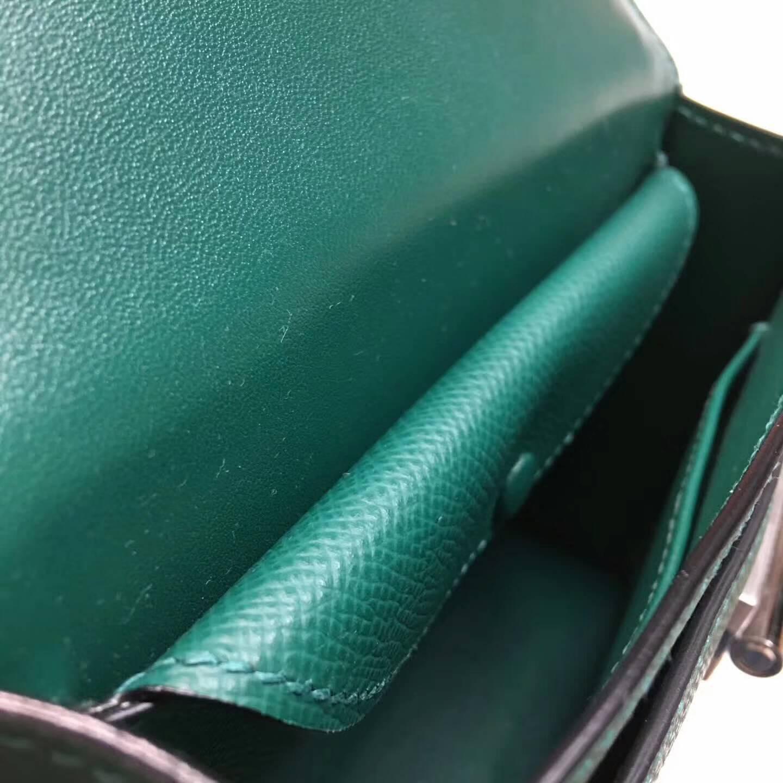 Hermes插销包手枪包 Verrou 17cm Epsom 法国原产掌纹皮 Z6 Malachite 孔雀绿