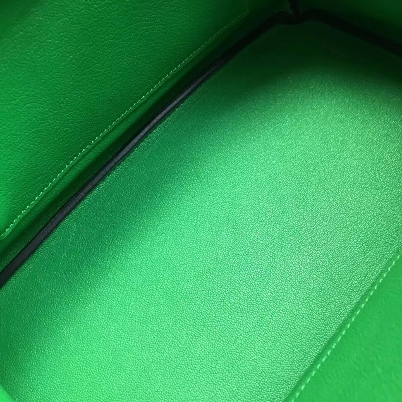 爱马仕铂金包 Birkim 30cm Clemence 法国原产Tc皮 1K Bamdou 竹子绿 银扣