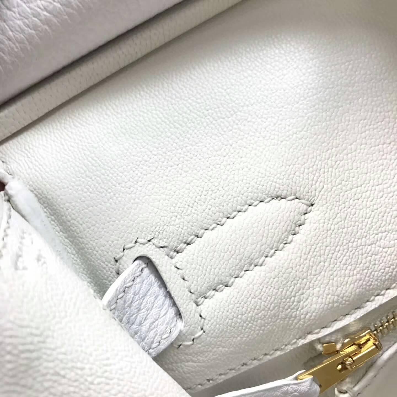 Hermes爱马仕铂金包 Birkin 30cm Clemence 法国原产Tc皮 1 Blanc 纯白 金扣