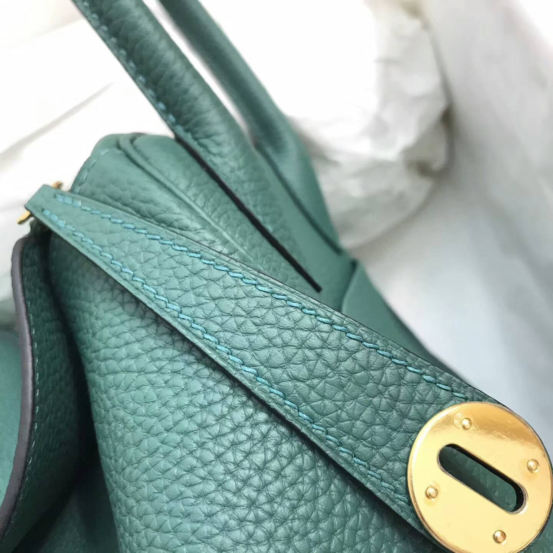 爱马仕包包 Lindy包 30cm 进口Togo皮 Z6 Malachite 孔雀绿 金扣 高贵优雅的颜色