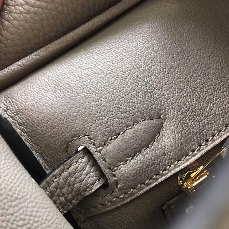 爱马仕包包 铂金包Birkin 25cm Clemence 法国原产Tc皮 4Z Gris Mouette 海鸥灰 金扣