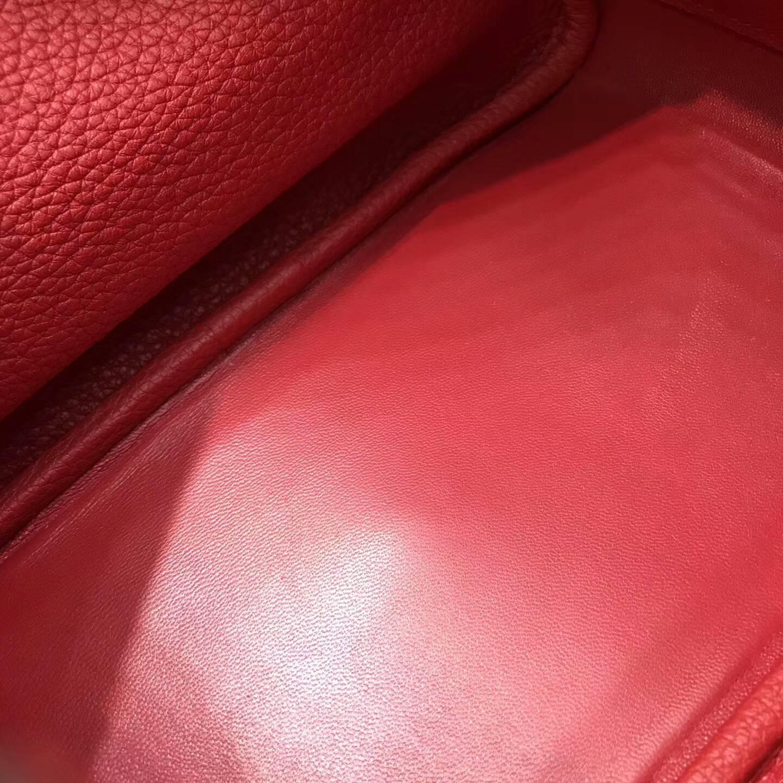 爱马仕包包 Lindy包 26cm Togo皮 Q5 Rouge Casaqbe 中国红 银扣 四季都适合的颜色