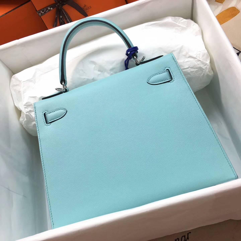 爱马仕Kelly凯丽包28cm 全球代发 Epsom 法国原产掌纹皮 3P Blue Atoll 马卡龙蓝 银扣