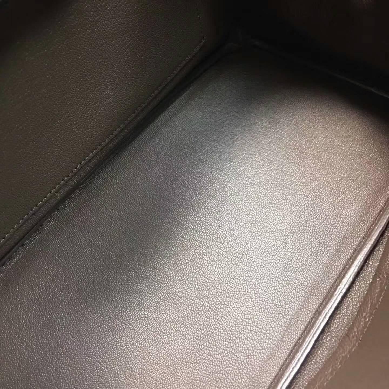 爱马仕铂金包 Birkim 30cm Clemence 法国原产Tc皮 47 Chocolat 巧克力色 深啡 银扣
