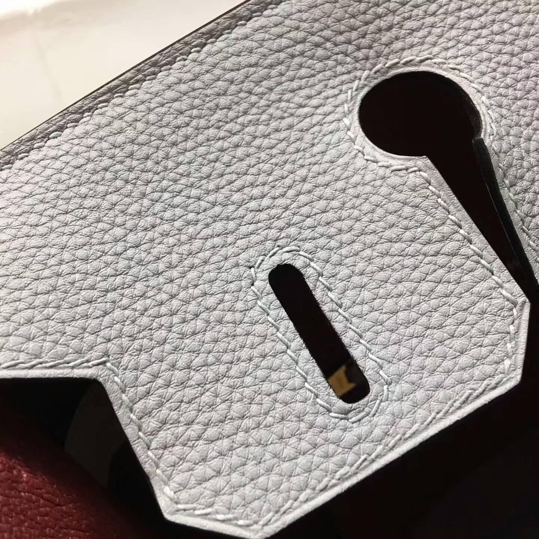 Hermes爱马仕铂金包 Birkin 30cm Clemence 法国原产Tc皮 8U Glacierw 冰川蓝 冰川灰内拼 B5 Rubis 宝石红 金扣