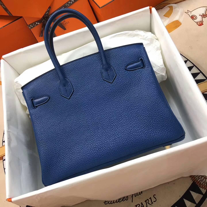 爱马仕铂金包 Birkim 30cm Clemence 法国原产Tc皮 7L Blue De Maite 普鲁士蓝 金扣