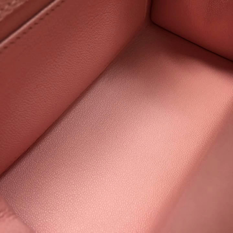 爱马仕包包 Kelly mini 20cm Epsom 法国原产掌纹皮 3Q Rose Sakura 芭比粉 银扣