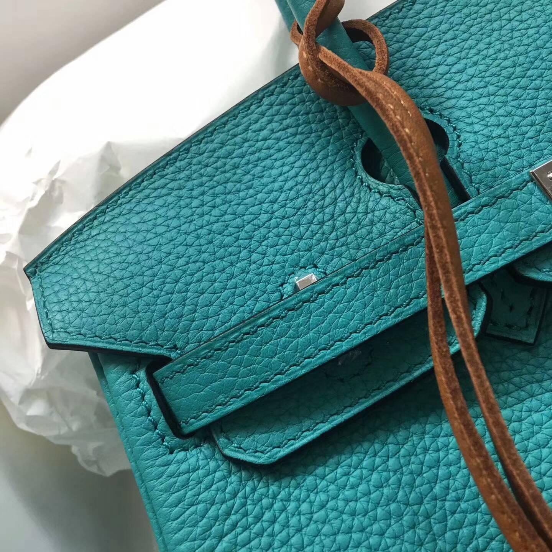 爱马仕包包 铂金包Birkin 25cm Clemence 法国原产Tc皮 7F Blue Paon 孔雀蓝 金扣