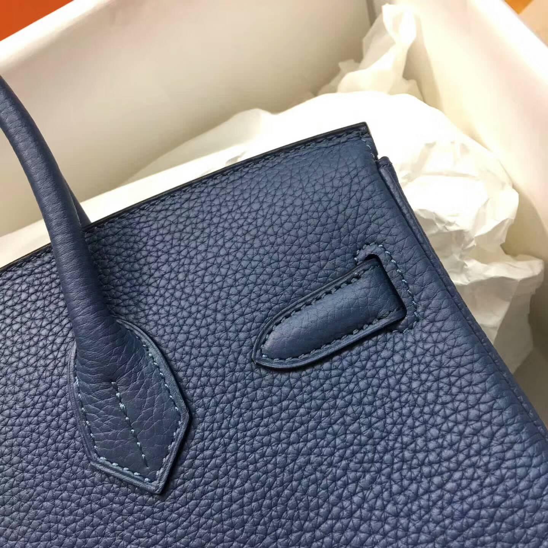 爱马仕铂金包 Birkim 30cm Clemence 法国原产Tc皮 R2 Blue Agate 玛瑙蓝 金扣
