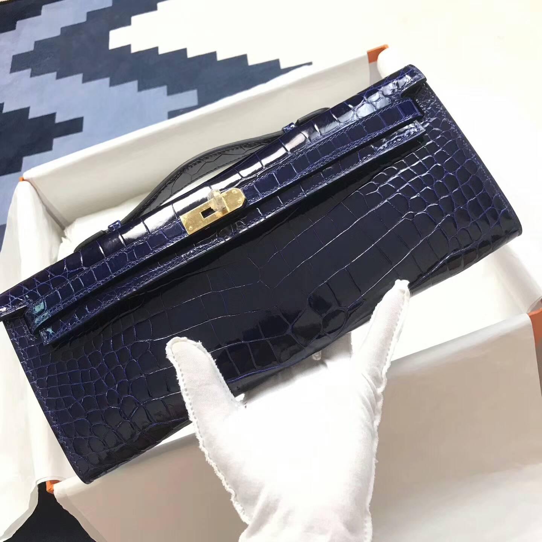 爱马仕钱包手包 31cm Kelly Cut 亮光尼鳄 T7 Blue Htdra 电光蓝 金扣 大师级蜡线纯手工缝线