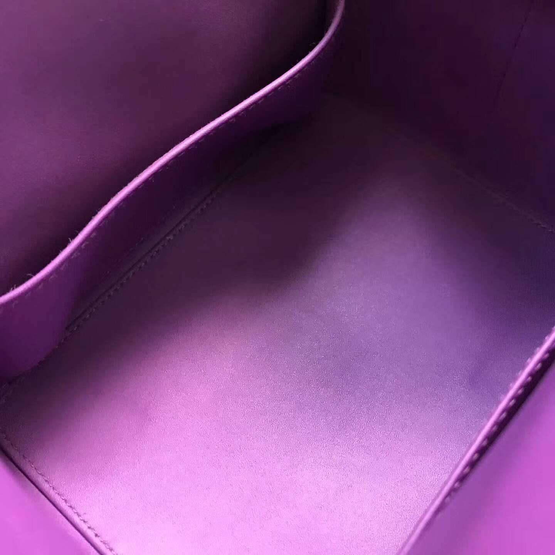 爱马仕全球同步发售 20Toolbox 牛奶包 小胖墩 进口swift皮 P9 Anemonb 海葵紫 银扣