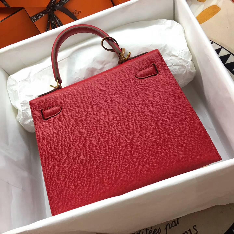 爱马仕Kelly凯丽包28cm 全球代发 Epsom 法国原产掌纹皮 Q5 Rouge Casaqbe 中国红 金扣