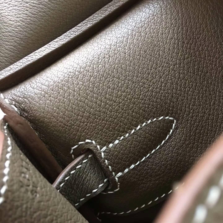 Hermes爱马仕铂金包 Birkin 30cm Clemence 法国原产Tc皮 18 Etoupe 大象灰 金扣