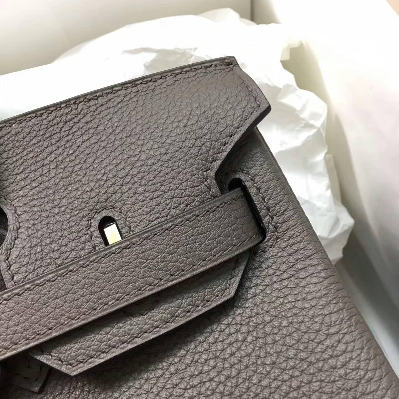 Hermes爱马仕铂金包 Birkin 30cm Clemence 法国原产Tc皮 8F Etain 锡器灰 金扣