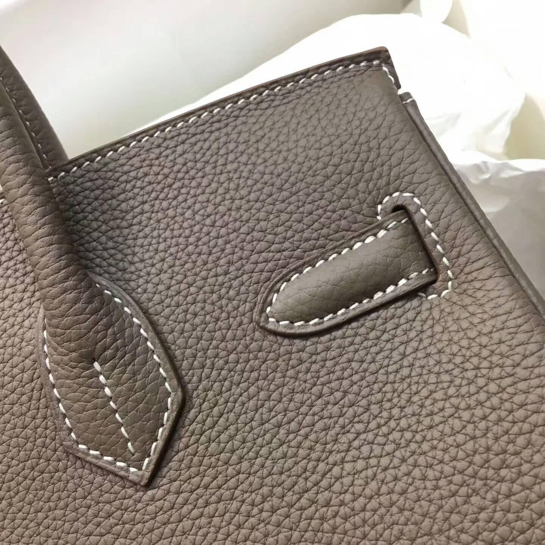 爱马仕铂金包 Birkim 30cm Clemence 法国原产Tc皮 18 Etoupe 大象灰 银扣