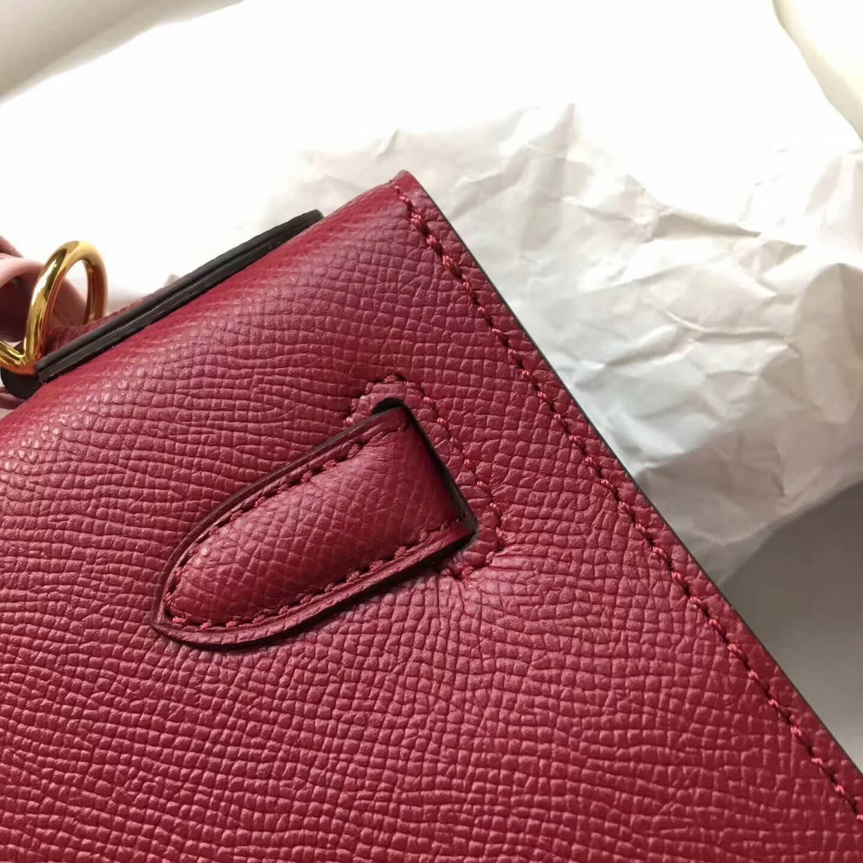 爱马仕Kelly凯丽包28cm 全球代发 Epsom 法国原产掌纹皮 B5 Rubis 宝石红 金扣