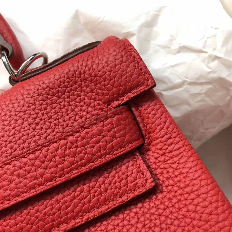爱马仕Kelly凯丽包28cm 全球代发 Clemence 法国原产Tc皮 Q5 Rouge Casaqbe 中国红 银扣