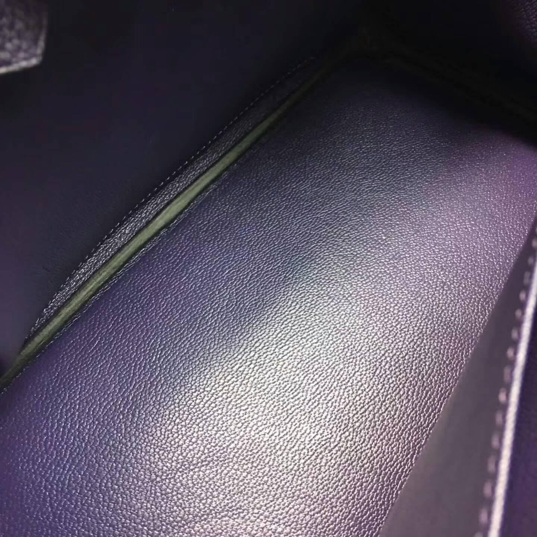 爱马仕包包 铂金包Birkin 25cm Clemence 法国原产Tc皮 9K Lris 鸢尾花紫 金扣