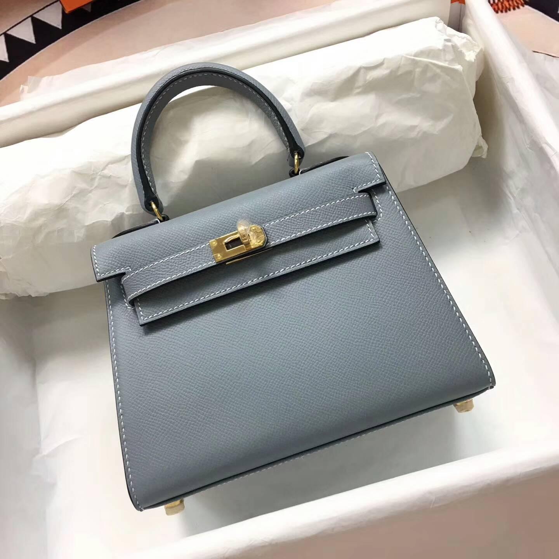 爱马仕包包 Kelly mini 20cm Epsom 法国原产掌纹皮 J7 Blue Lin 亚麻蓝 金扣