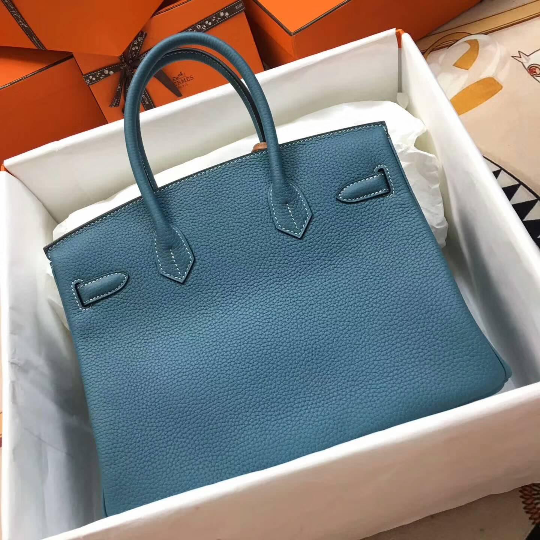爱马仕铂金包 Birkim 30cm Clemence 法国原产Tc皮 75 Blue Jean 牛仔蓝 金扣