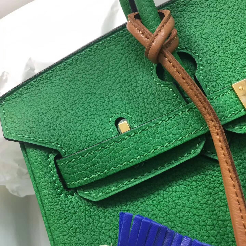 爱马仕包包 铂金包Birkin 25cm Clemence 法国原产Tc皮 1K Bamdou 竹子绿 金扣