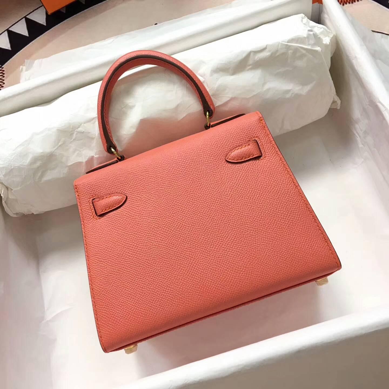 爱马仕包包 Kelly mini 20cm Epsom 法国原产掌纹皮 L5 Crevette 龙虾粉 金扣