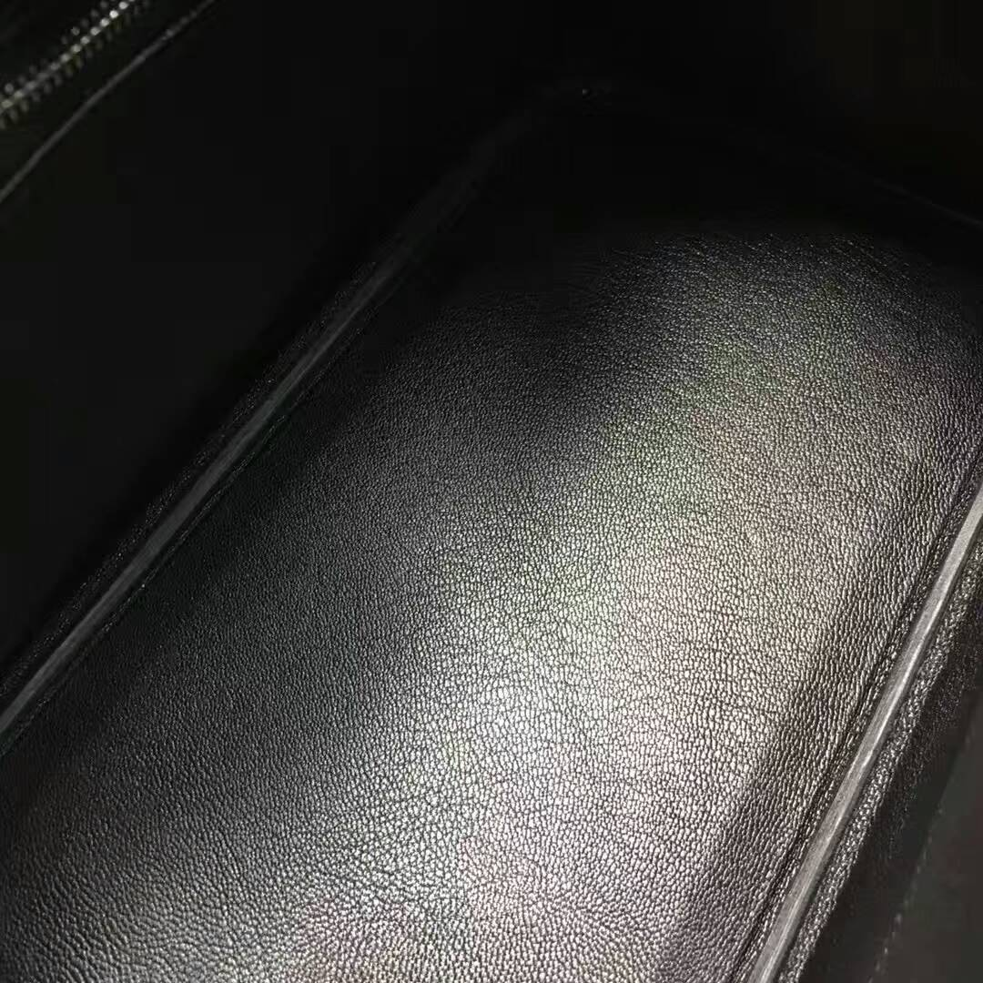 爱马仕纯手工定制 Birkin 30cm Ostrich Leather 南非原产KK级鸵鸟皮 89 Nior 黑色 银扣