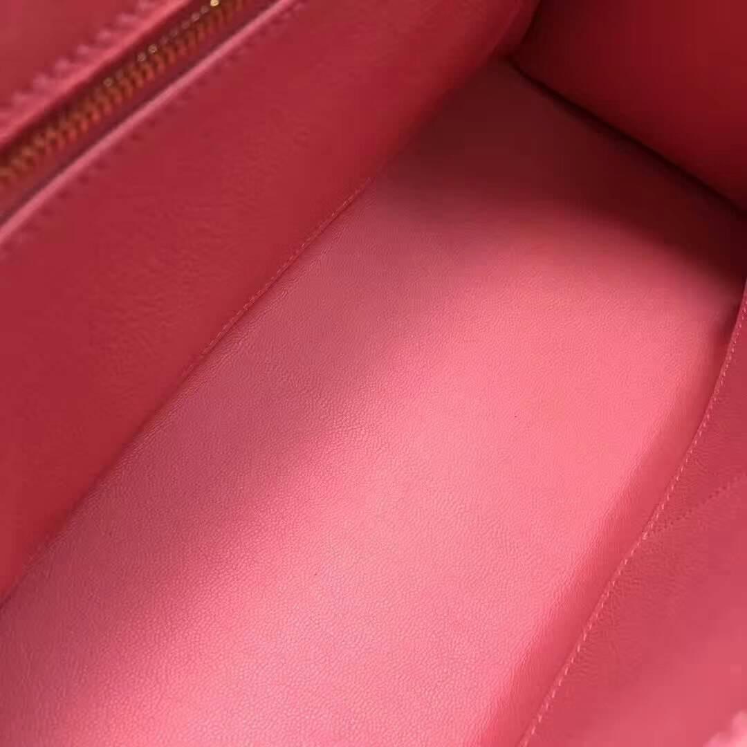 爱马仕纯手工定制 Kelly 28cm Ostrich Leather 南非原产KK级鸵鸟皮 1Q Rose Conpetti 奶昔粉 金扣