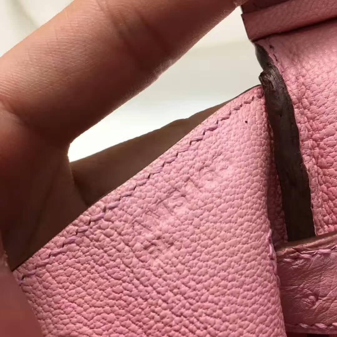 爱马仕纯手工定制 Birkin 30cm Ostrich Leather 南非原产KK级鸵鸟皮 94 Terre Cuite 陶瓷粉 银扣