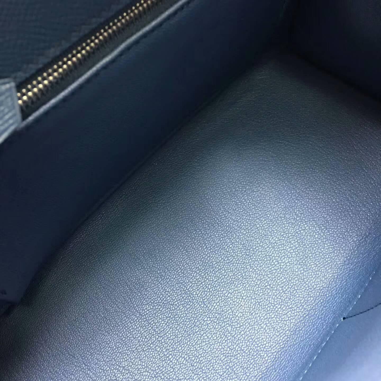 爱马仕Kelly凯丽包28cm 全球代发 Epsom 法国原产掌纹皮 R2 Blue Agate 玛瑙蓝 银扣