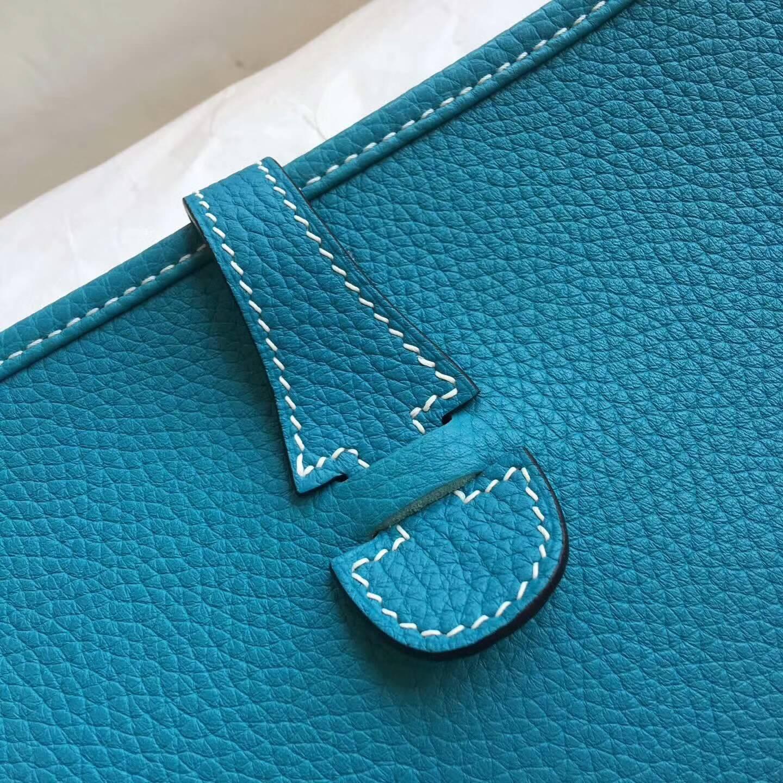 爱马仕包包 Evelyne伊芙琳 28cm Clemence 法国原产Tc皮 7B Tuequoise 松石蓝 银扣