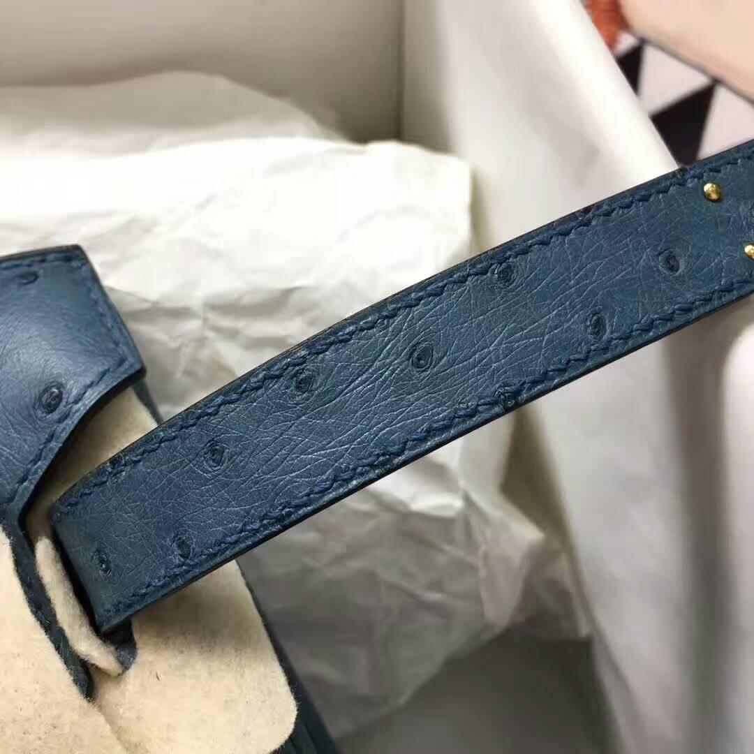 爱马仕纯手工定制 Birkin 30cm Ostrich Leather 南非原产KK级鸵鸟皮 1P Colvert 鸭子蓝 金扣