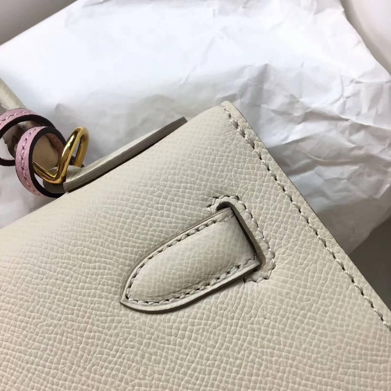 爱马仕Kelly凯丽包28cm 全球代发 Epsom 法国原产掌纹皮 10 Craie 奶昔白 金扣