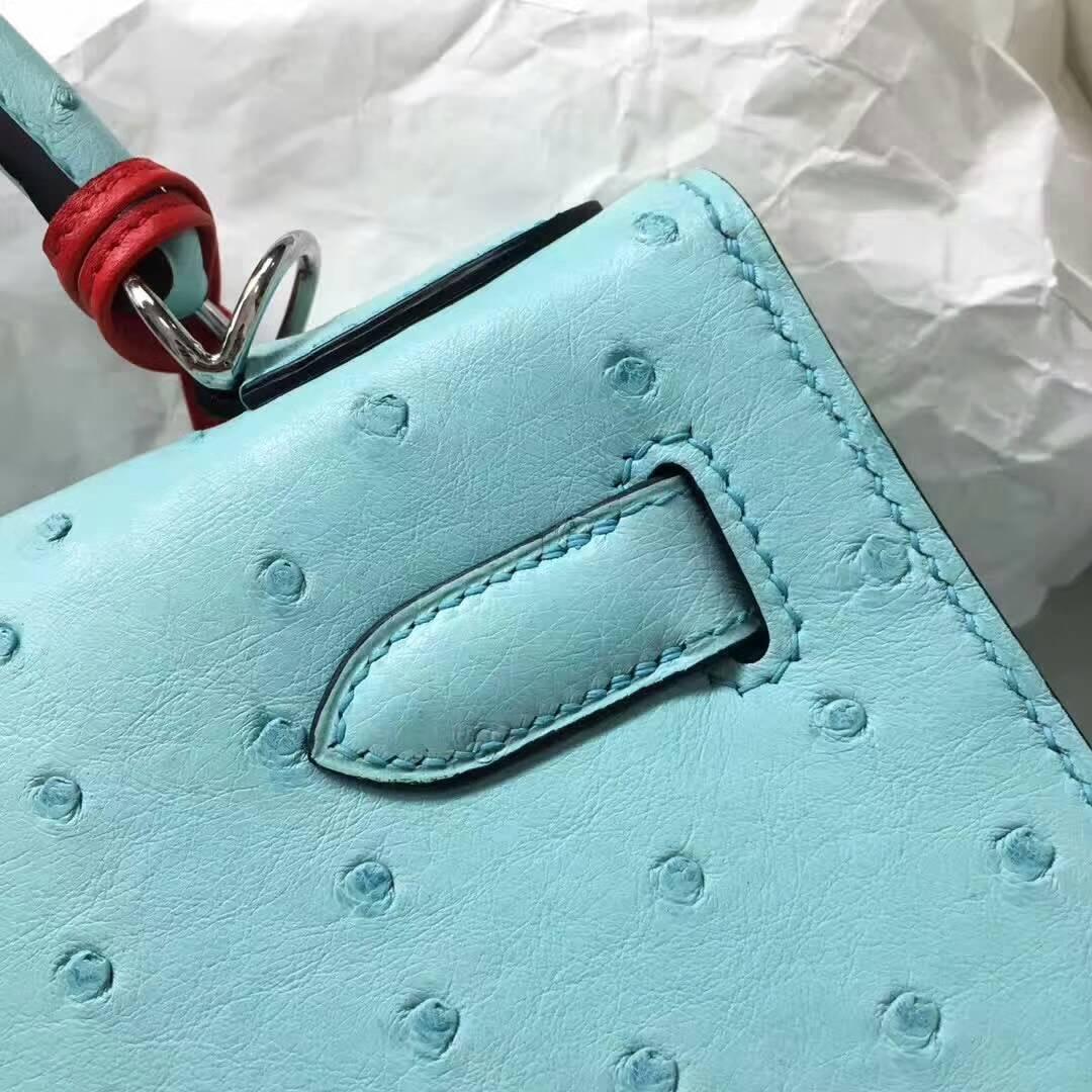 爱马仕纯手工定制 Kelly 28cm Ostrich Leather 南非原产KK级鸵鸟皮 3P Blue Atoll 马卡龙蓝 银扣