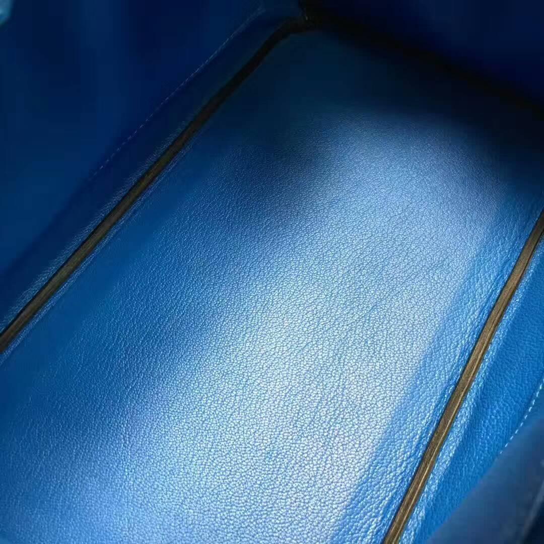 爱马仕纯手工定制 Birkin 30cm Ostrich Leather 南非原产KK级鸵鸟皮 7Q Mykonos 希腊蓝 爱情海蓝 金扣