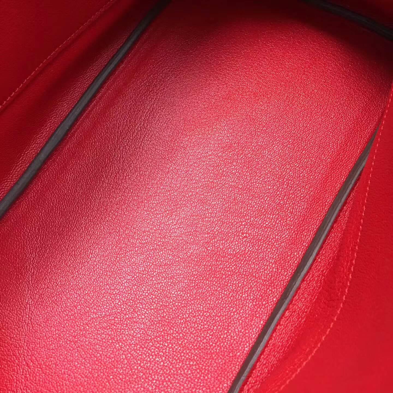 爱马仕铂金包 Birkim 30cm Clemence 法国原产Tc皮 Q5 Rouge Casaqbe 中国红 金扣