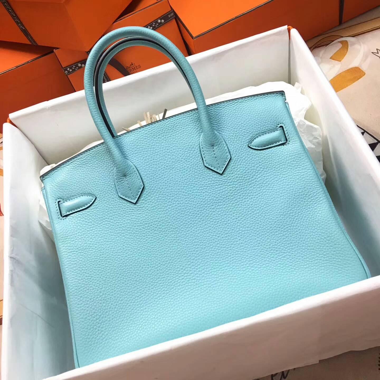 爱马仕铂金包 Birkim 30cm Clemence 法国原产Tc皮 3P Blue Atoll 马卡龙蓝 银扣