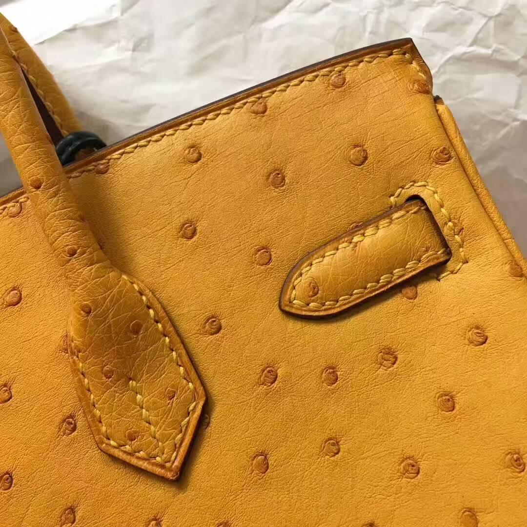 爱马仕纯手工定制 Birkin 25cm Ostrich Leather 南非原产KK级鸵鸟皮 9H Soleil 亮黄色 金扣