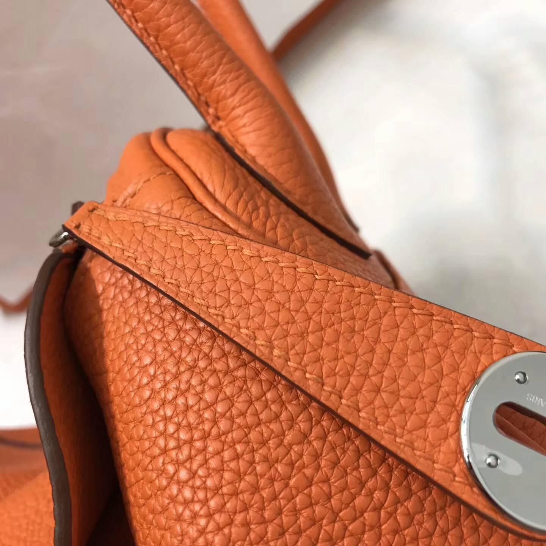 爱马仕包包 Lindy包 26cm Togo皮 CC93 Orange 橙色 银扣