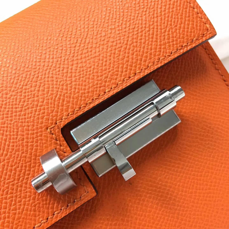 Hermes插销包手枪包 Verrou 17cm Epsom 法国原产掌纹皮 93 Orange 橙色