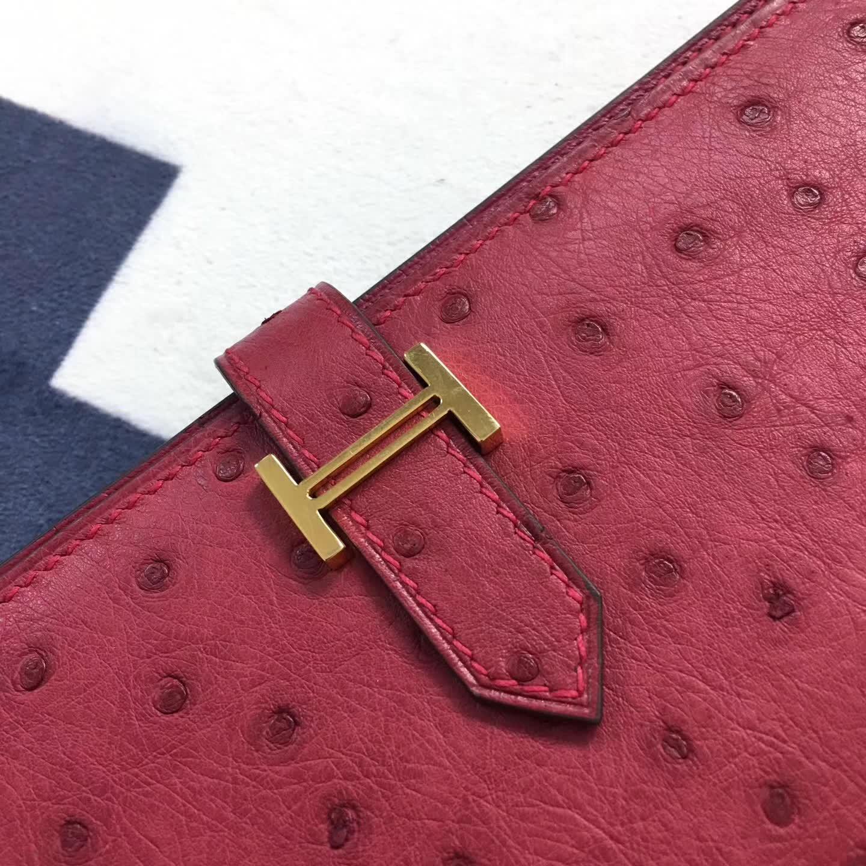 爱马仕钱夹 Bearn钱包 鸵鸟皮 宝石红 金扣