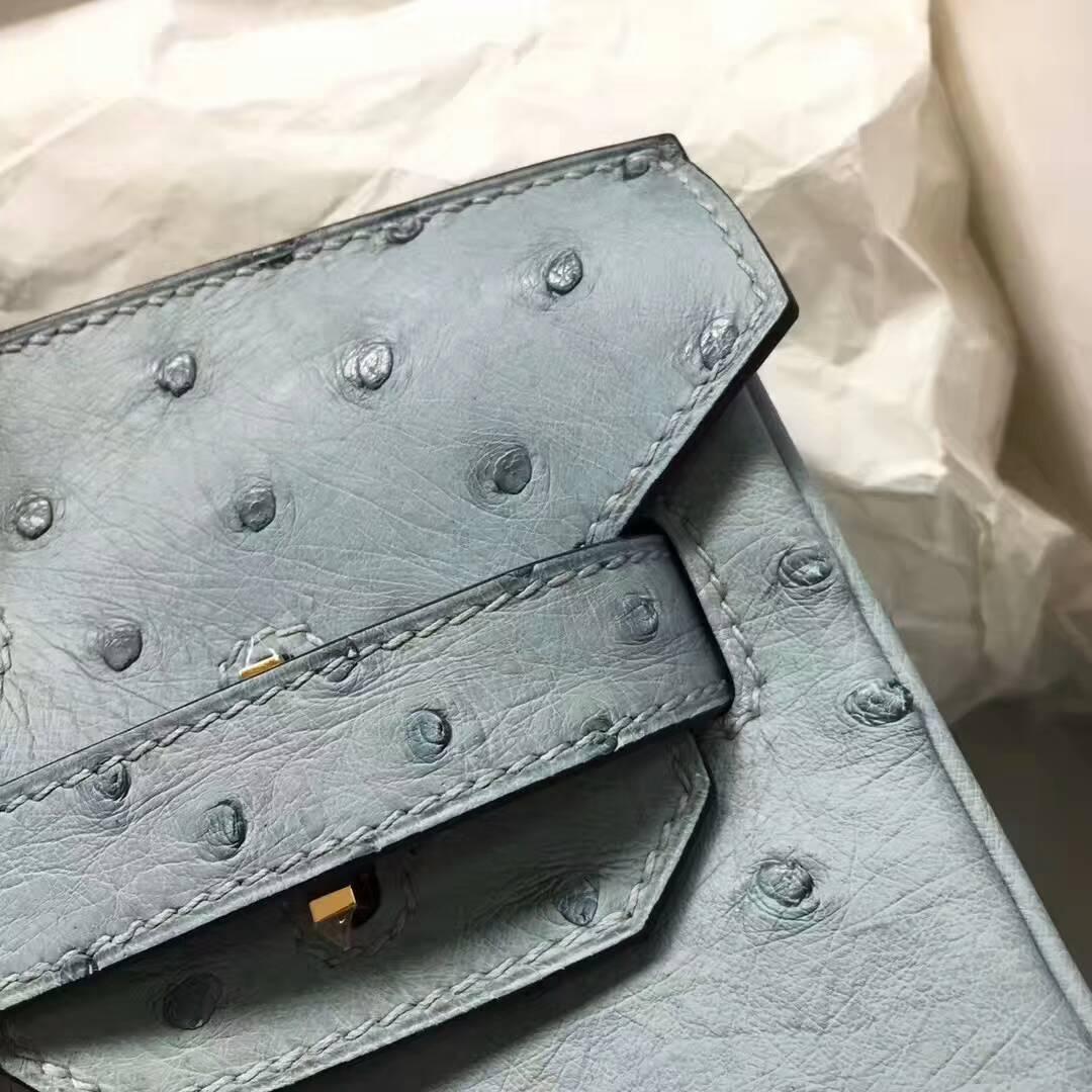 爱马仕纯手工定制 Birkin 30cm Ostrich Leather 南非原产KK级鸵鸟皮 8U Glacierw 冰川蓝 冰川灰 金扣