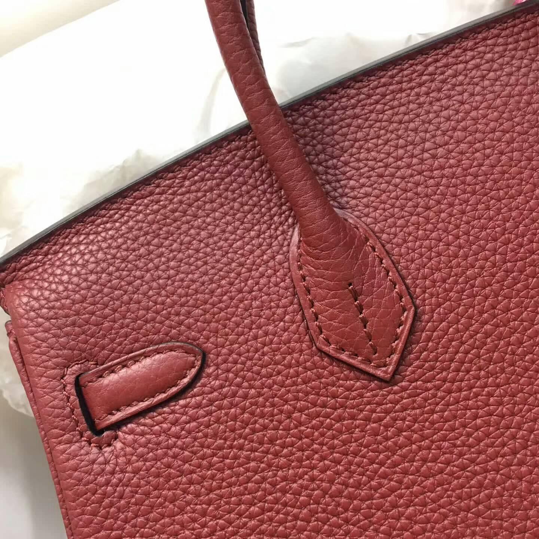 爱马仕包包 铂金包Birkin 25cm Clemence 法国原产Tc皮 57 Bordeaux 波尔多酒红 金扣